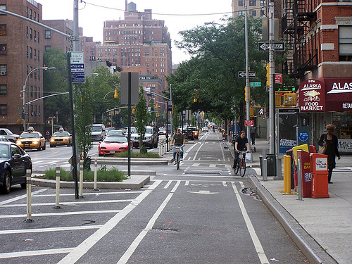 We want to bring cycle tracks, like the one shown here on New York City's Ninth Avenue, to Los Angeles. Where should the first one be?