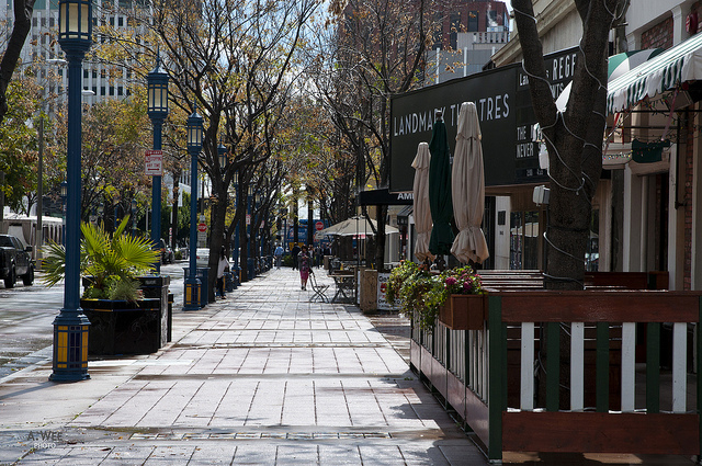 Pedestrian-friendly street in Westwood Village. Photo Credit: A. Wee