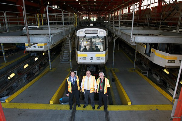 Metro Rail Fleet Service Team at a maintenance facility  Photo Credit: Gary Leonard